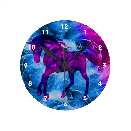 Fiery Galloping Black Horse Animal Art Round Clock
