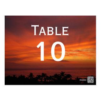 Fiery Hawaiian Sunset Table Numbers Postcard