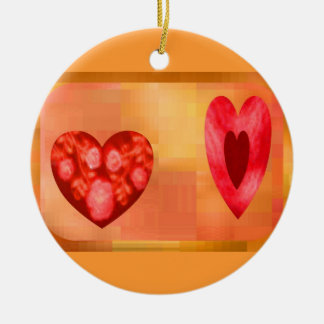 Fiery Hearts Double-Sided Ceramic Round Christmas Ornament