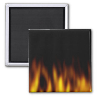 Fiery Hot Flames Backdrop Square Magnet