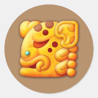 Fiery Maya Animal Head Classic Round Sticker
