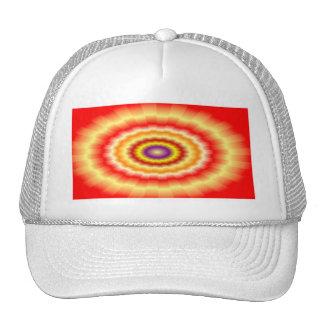 """Fiery muticolored """"bulls-eye"""" background cap"""