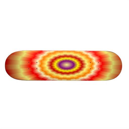 """Fiery muticolored """"bulls-eye"""" skateboard"""