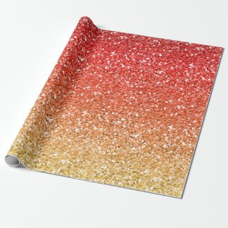 Fiery Ombre with Glitter Effect Wrapping Paper