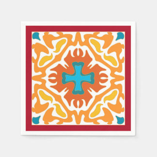 Fiery Orange Abstract with Blue Accents Paper Napkins