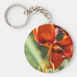 Fiery Orange Lily Flower Photo Keychain Keyring
