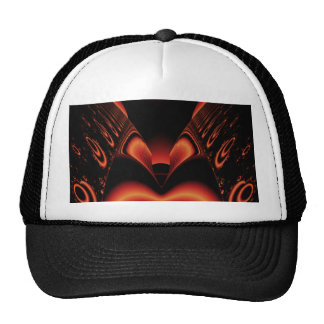 Fiery Red and Black Fractal. Hats