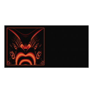 Fiery Red and Black Fractal Custom Photo Card