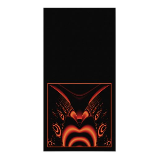 Fiery Red and Black Fractal. Photo Card Template