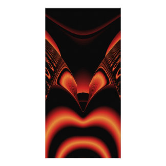 Fiery Red and Black Fractal Photo Greeting Card