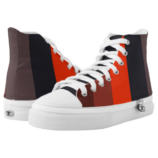 Fiery red & brown stripes design printed shoes