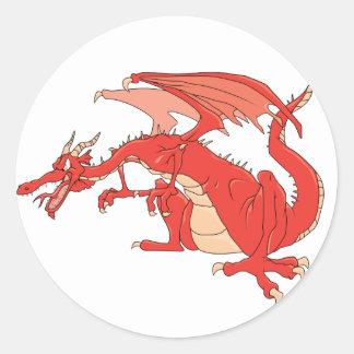 Fiery Red Dragon Round Sticker