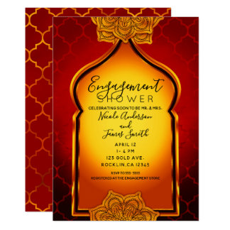 Fiery Red Gold Indian Arabian Engagement Shower Card