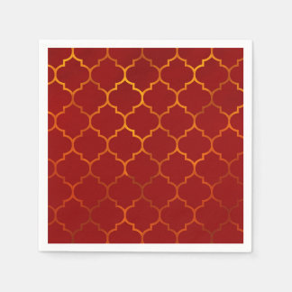 Fiery Red Gold Royal Indian Arabian Theme Moroccan Paper Napkin