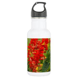 Fiery Red Hot Sally Salvia Flower Garden 18oz Water Bottle