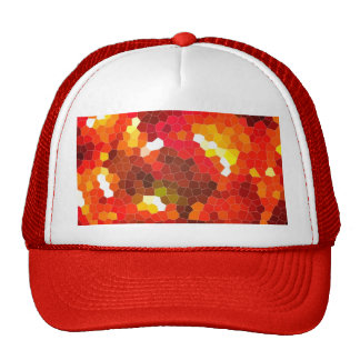 Fiery red stained glass hats