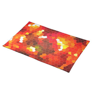 Fiery red stained glass place mats