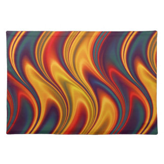 Fiery red yellow blue waves placemat