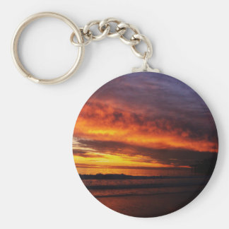 Fiery Santa Monica Sunset Keychain