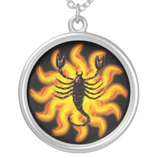 Fiery Scorpio Round Pendant Necklace