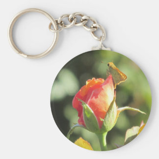 Fiery Skipper Butterfly on Rosebud Basic Round Button Key Ring
