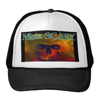 Fiery Skull w/  Blue Mista SCARY Logo Baseball Hat