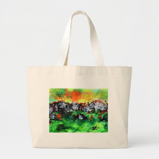 Fiery Sun over winter mountains Large Tote Bag