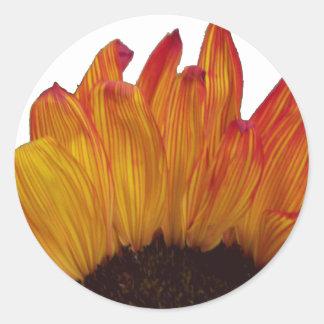 Fiery Sunflower Cutout Large Round Sticker
