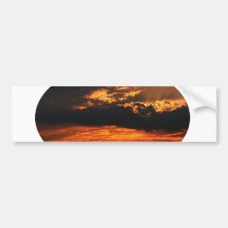 Fiery Sunset Oval Bumper Sticker