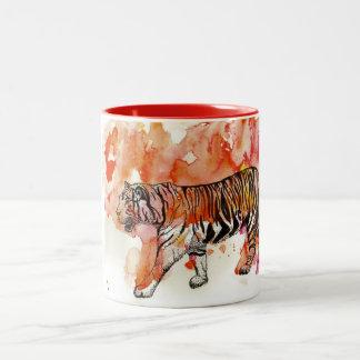 Fiery Tiger Watercolor Two-Tone Mug