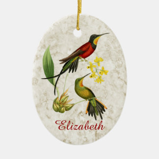 Fiery Topaz Hummingbirds Christmas Ornament
