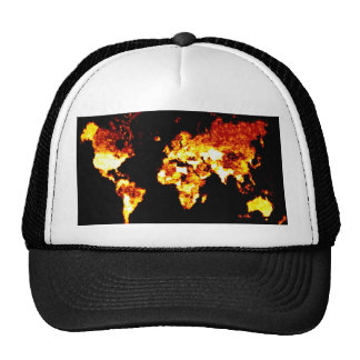 Fiery World Map Illustration Cap