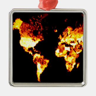 Fiery World Map Illustration Square Metal Christmas Ornament