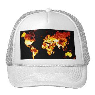 Fiery World Map Illustration Hats