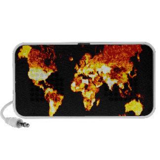 Fiery World Map Illustration Laptop Speaker