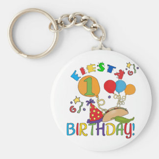 Fiesta 1st Birthday Tshirts and Gifts Basic Round Button Key Ring