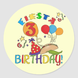 Fiesta 3rd Birthday T-shirts and Gifts Classic Round Sticker