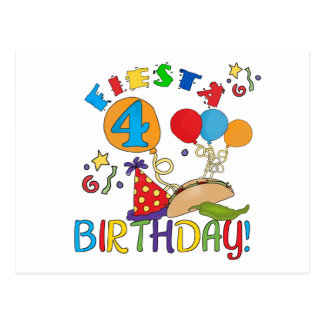 Fiesta 4th Birthday T-shirts and Gifts Postcard