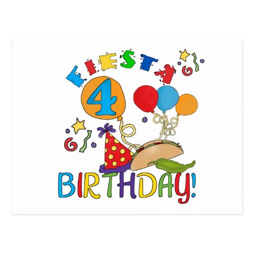 Fiesta 4th Birthday T-shirts and Gifts Postcards