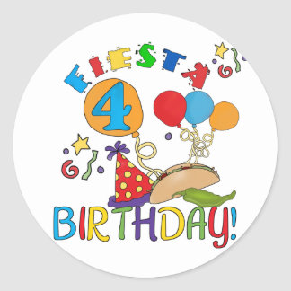 Fiesta 4th Birthday T-shirts and Gifts Round Stickers