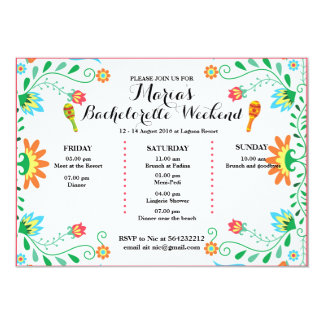 Fiesta Bachelorette Party Itinerary Invitation, Card