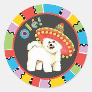 Fiesta Bichon Round Sticker