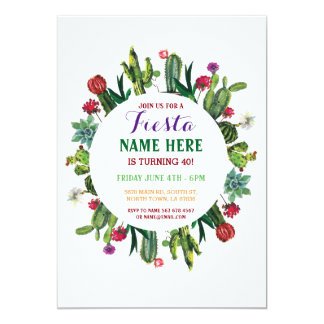 Fiesta Birthday Cactus Cacti Mexico Invitation