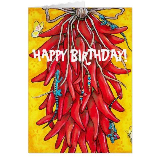 Fiesta Birthday Card Red Chilli Chile Pepper