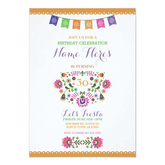 Fiesta Birthday Party Floral Mexico Invitation