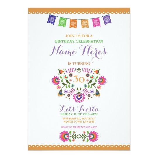 Fiesta Birthday Party Floral Mexico Invitation
