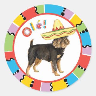 Fiesta Brussels Griffon Round Sticker