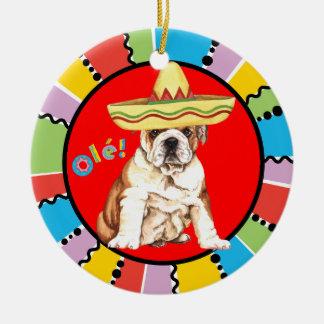 Fiesta Bulldog Christmas Ornament