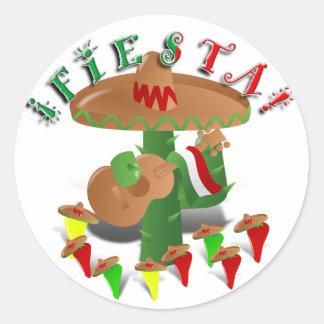 Fiesta Cactus w/Sombrero & Guitar Round Sticker
