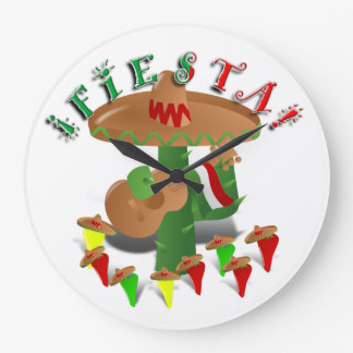 Fiesta Cactus with Guitar & Dancing Peppers Large Clock